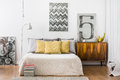 Bright snug bedroom interior Royalty Free Stock Photo