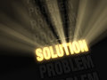 Bright solution in a row of problems brilliant light rays burst from glowing gold dark Royalty Free Stock Images