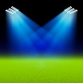 Bright spotlights illuminated green field stadium illustration Stock Images