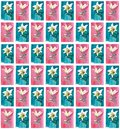 Bright spring floral seamless pattern of white lilies on blue and pink backgrounds watercolor Royalty Free Stock Photo