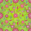 Bright spring seamless pattern with flowers and leaves ornamental wallpaper it can be used for wallpaper fills web page Royalty Free Stock Image