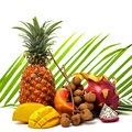 Bright still life of different tropical fruits on a green palm l Royalty Free Stock Photo