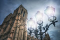 Bright streetlight and Notre-Dame Royalty Free Stock Photo