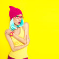 Bright stylish girl portrait of a Royalty Free Stock Photography