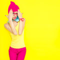 Bright stylish girls portrait of Royalty Free Stock Images
