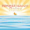 Bright summer background to the sea graphic with sun and Royalty Free Stock Photos