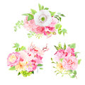 Bright summer bouquets of flowers and leaves