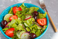 Bright summer salad of vegetables. Royalty Free Stock Photo
