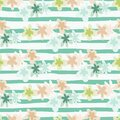 Bright summer seamless daisy pattern with white background and blue strips. Flowers in soft pastel blue, pink and yellow tones Royalty Free Stock Photo