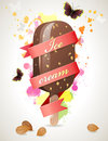Bright summer time background with choc ice Royalty Free Stock Images