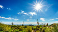 Bright Sun Rays over the Valley of the Sun with the city of Phoenix viewed from Usery Mountain Reginal Park Royalty Free Stock Photo