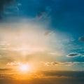 Bright Sun, Sunset, Sunrise. Colorful Blue, Yellow Sky Royalty Free Stock Photo
