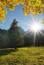Bright sunburst, autumnal landscape karwendel, austria Royalty Free Stock Photo