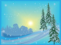 Bright sunny winter illustration with firs and snow Stock Images
