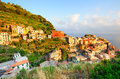 Bright sunset in Manarola village - Cinque Terre Royalty Free Stock Photo