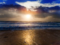 Bright sunset over the sea summer landscape Royalty Free Stock Photography