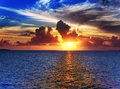 Bright sunset over the sea tropical landscape Stock Photo