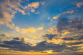 Bright sunset sky background clouds on blue Royalty Free Stock Photography