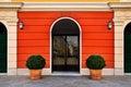 Bright symmetry facade with entrance door