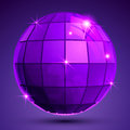 Bright textured plastic spherical object with flashes pixilated synthetic globe created from squares Royalty Free Stock Photos