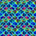 Bright tiles curly eastern geometrical shape abstract grunge colorful splashes texture, watercolor seamless pattern design in blue Royalty Free Stock Photo