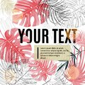 Bright tropical design template. Text area with pink monstera leaves and sun flares.