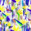 Tropical jungle exotic floral print bright vivid seamless pattern endless repeat vibrant