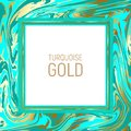 Bright turquoise blue marble paper vector texture imitation, golden streaks effect Royalty Free Stock Photo