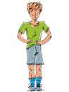 Bright vector full length drawing of a red haired caucasian boy colorful cartoon hand drawn skeptical youngster wearing green t Royalty Free Stock Image