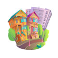 Bright vector illustration icon of old Victorian houses with columns. Royalty Free Stock Photo