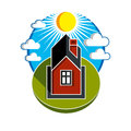 Bright vector illustration of simple country house on sunrise ba Royalty Free Stock Photo