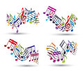 Bright vector jolly staves with musical notes on white background decorative major wavy set of notation symbol Royalty Free Stock Photos