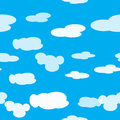Bright vector seamless pattern of clouds in the light blue sky