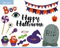 Bright vector set of elements for halloween