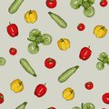 Bright vegetable seamless pattern isolated on gray background
