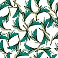 Bright vintage background of green leaves. Drawn contours on a white background. Sketch. Endless texture for your design, tile and