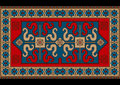 Bright vintage rug with ethnic pattern dragons