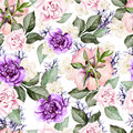 Bright watercolor seamless pattern with flowers roses, lavender Royalty Free Stock Photo