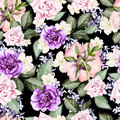 Bright watercolor seamless pattern with flowers roses, lavender and anemone Royalty Free Stock Photo