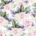 Bright watercolor seamless pattern with flowers roses, lavender. Royalty Free Stock Photo