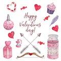 Bright watercolor set for Valentine`s Day