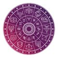 Bright and white astrology horoscope circle with zodiac signs Royalty Free Stock Photo
