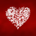 Bright white hearts background shape of on red Royalty Free Stock Photography