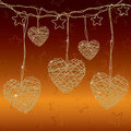 Bright wire hearts Royalty Free Stock Image