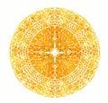 Bright yellow mandala. Vector vintage illustration