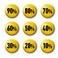 Bright yellow round buttons with discount tags Royalty Free Stock Photo