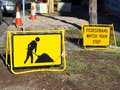 Roadwork Signs, Pedestrians Mind Your Step Royalty Free Stock Photo