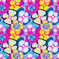 Brightly colored abstract flowers on a black background seamless pattern vector illustration Royalty Free Stock Photo