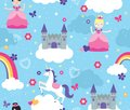 Brightly Colored Castle in the Clouds Seamless Vector Pattern with Princesses and unicorn
