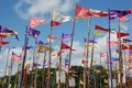 Brightly colored festival flags flying wind against blue sky taken glastonbury festival Stock Image